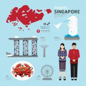Singapur ploché ikony designu cestovní Concept.Vector