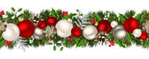 Vector Christmas horizontal seamless background with fir-tree branches red and silver balls cones holly and mistletoe