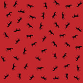 Wild black horses on a red background