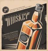 Whiskey vintage poster design template Retro drink creative  promotional ad concept Vector flyer or banner background layout No gradients or effects just fill colors Old paper texture
