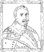 Outline sketch of Gustav II Adolf was the king of Sweden from 1611 to 1632