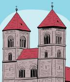 Sketch of towers on Quedlinburg Abbey under blue sky in Germany