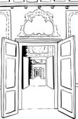 Outline illustration of one point perspective view between multiple doorways through halls in Stockholm palace