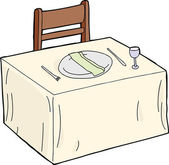 Isolated dining table with folded napkin in plate