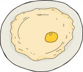 Isolated single cartoon fried egg in plate over white