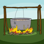 Cartoon of large pot with soup boiling over campfire