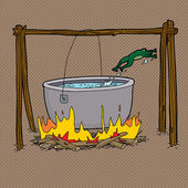 Scared frog jumping out of boiling water in bonfire