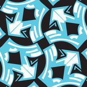 Abstract winged arrows pattern in blue over black