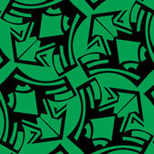 Abstract winged arrows pattern in black over green