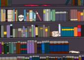 Cartoon of strange library of books and body parts