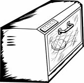 Outline of a single toaster oven with english muffin inside