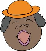 Cartoon singing woman with hat over white background