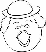 Outlined singing woman with hat over white background