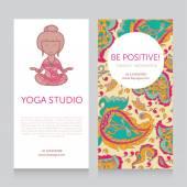 Paisley design template for yoga studio business card vector illustration
