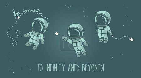 Постер, плакат: Three cute hand drawn astronauts with stars, холст на подрамнике