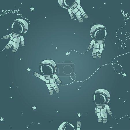 Постер, плакат: Cute doodle astronauts floating in space, холст на подрамнике