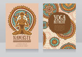 Cards template for yoga retreat or yoga studio lotus asana and colorful doodle mandala vector illustration
