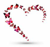 Heart shape flock of red butterflies isolated on white background