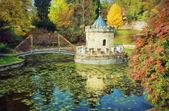 Turret in Bojnice, Slovakia, autumn park, illustration with colo