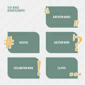 Set of text boxes with quotation question exclamation marks ellipsis and hashtag symbol vector banner template