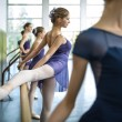 Постер, плакат: Group of five young dancers trained in a dance class near the ba
