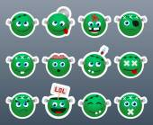Set of funny and very beautiful green stickers on the theme of Frankenstein