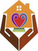 Illustration art of a home care logo with isolated background