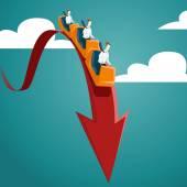 Businessmen riding on roller coaster
