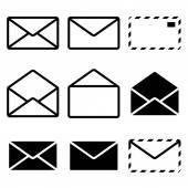 Envelope Icon Isolated on white background Set Illustration Vector
