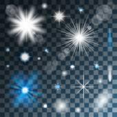 Transparentní zářící hvězdy a světla