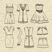 Set of  outline dresses, scarf, skirt, shorts.