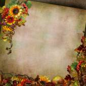 Autumn background with flowers, leaves, berries