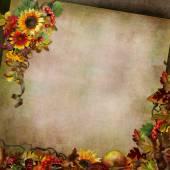 Herbst Hintergrund mit Blumen, Blätter, Beeren
