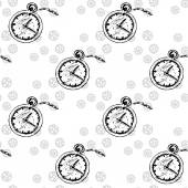 Clocks Seamless pattern  with  pocket watches and gears vector