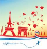 Francie dovolená pozadí symbolem a vlajky