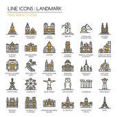 Landmark  thin line icons set pixel perfect icon