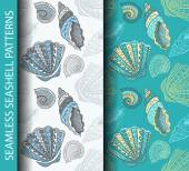 Seamless seashell patterns Based on hand drawn sketch without gradients and clipping mask