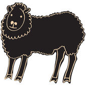 Hand drawn black sheep - vector Illustration