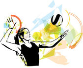 Illustration des Volleyball-Spieler spielen