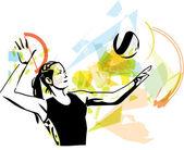 Ilustrace volejbalový hráč hraje