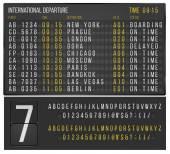 Airport or railroad realistic  scoreboard with flip symbols Vector template