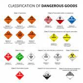 Classification of dangerous goods -  danger hazard cargo material symbols Vector EPS8 set