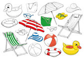 Linear contour and colored vector illustration of beach paraphernalia: umbrellas bags slippers inflatable duck a lifebuoy ball beach chairs glasses and hats