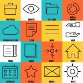 Sada lineární ikony služeb internet - část 4
