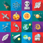 Space icons in flat style Astronomy set collection vector illustration