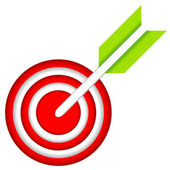 Dart Hitting A Target Isolated On White Background Vector Illustration