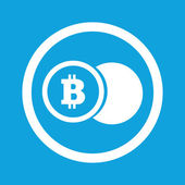 Image of coin with bitcoin symbol in circle isolated on blue
