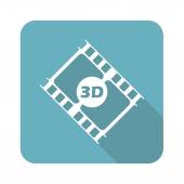 Image of film strip with text 3D in blue square isolated on white