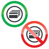 Allowed and forbidden signs with credit card in circle isolated on white