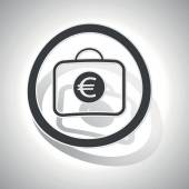 Euro bag sign sticker curved with outlining and shadow